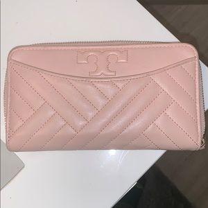 Tory Burch pink zipper wallet